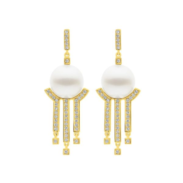 Kailis Metropolis Diamond Pearl Earrings, 18ct Yellow Gold