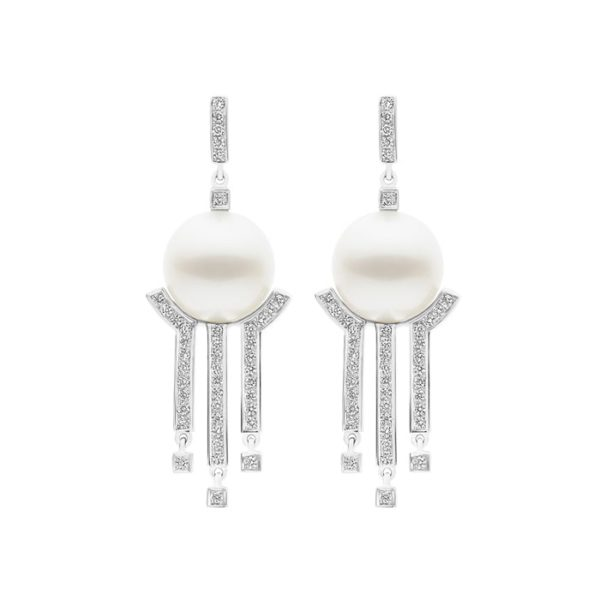 Kailis Metropolis Diamond Pearl Earrings, 18ct White Gold