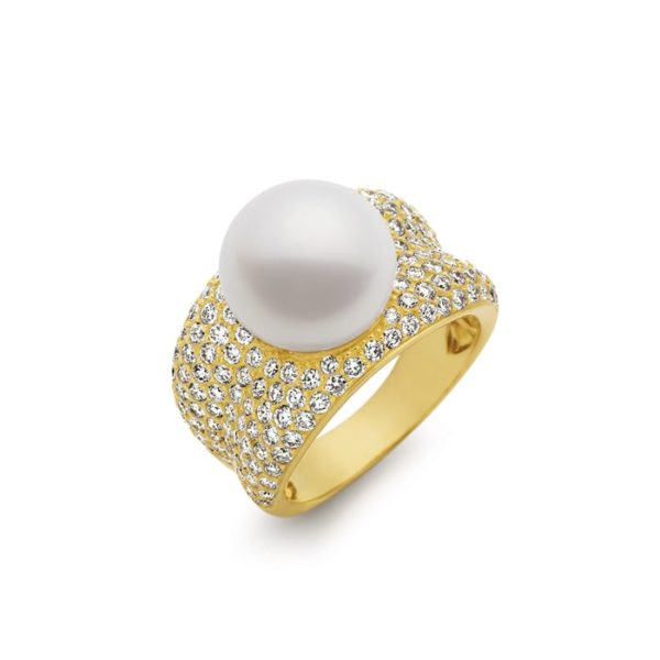 Kailis Adored Pearl Ring with White Diamonds, Yellow Gold