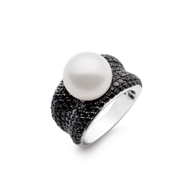 Kailis Adored Pearl Ring with Black Diamonds, White Gold