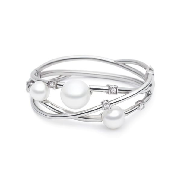 Kailis Eclipse Pearl Diamond Bangle 18ct White Gold