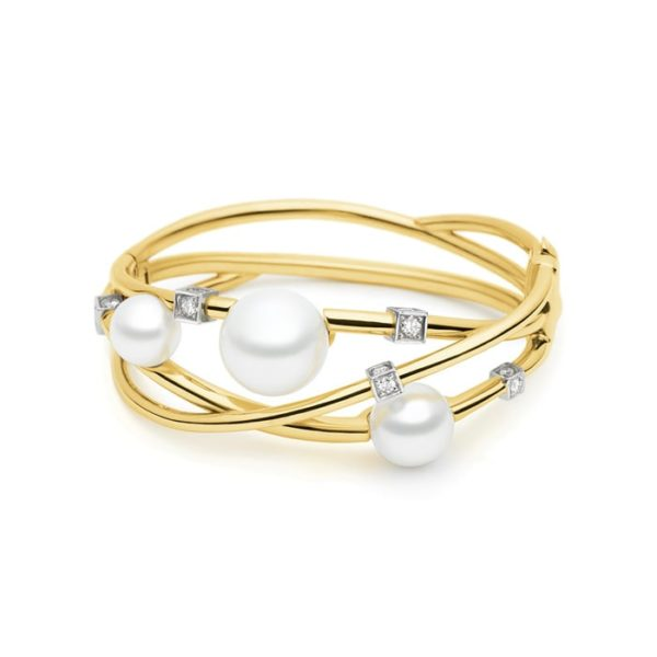 Kailis Eclipse Pearl Diamond Bangle 18ct Yellow Gold