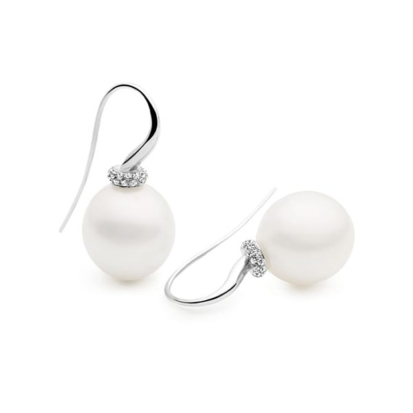Kailis Tranquility Pearl French Hook Earrings, 18ct White Gold, Diamonds