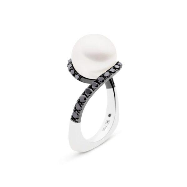 Kailis Angelic Pearl Ring Noir, Black Diamonds, 18ct White Gold