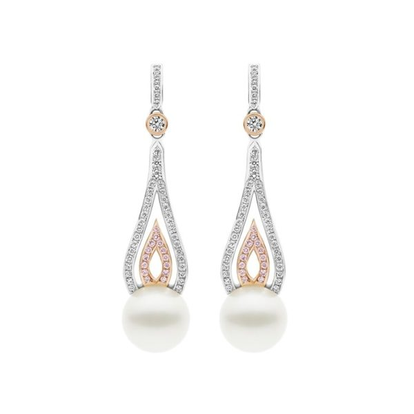 Kailis Flame Diamond Pearl Earrings Pink Diamonds