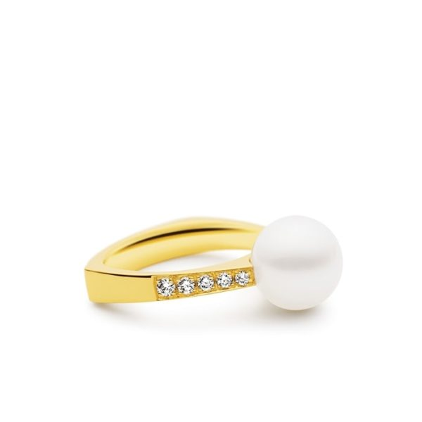 Kailis Geometric Pearl Ring with Diamonds, 18ct Yellow Gold