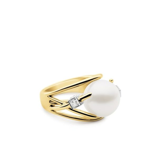 Kailis Orbit Pearl Diamond Ring 18ct Yellow Gold