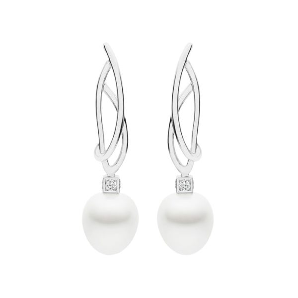 Kailis Eclipse Pearl Diamond Earrings 18ct White Gold