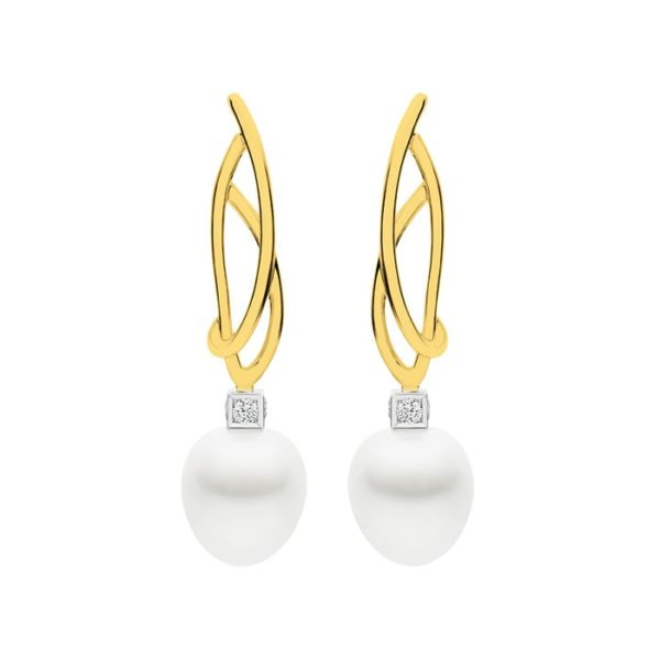 Kailis Eclipse Pearl Diamond Earrings 18ct Yellow Gold