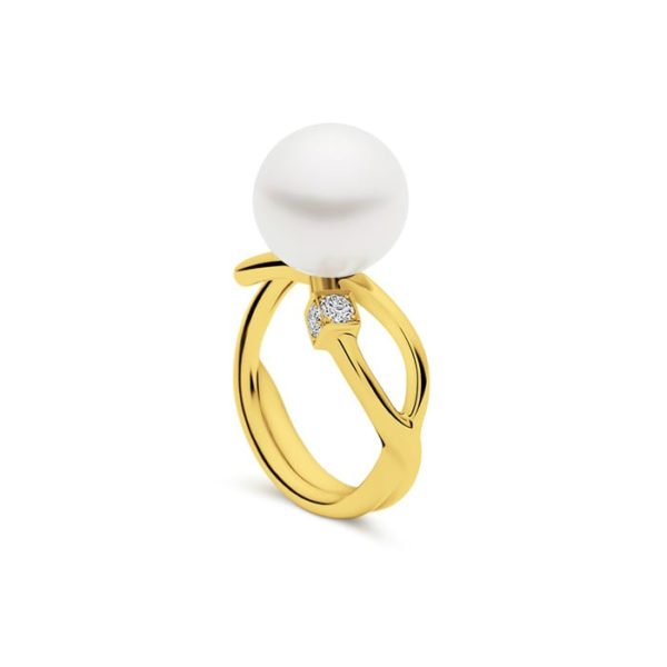 Kailis Eclipse Pearl Diamond Ring 18ct Yellow Gold