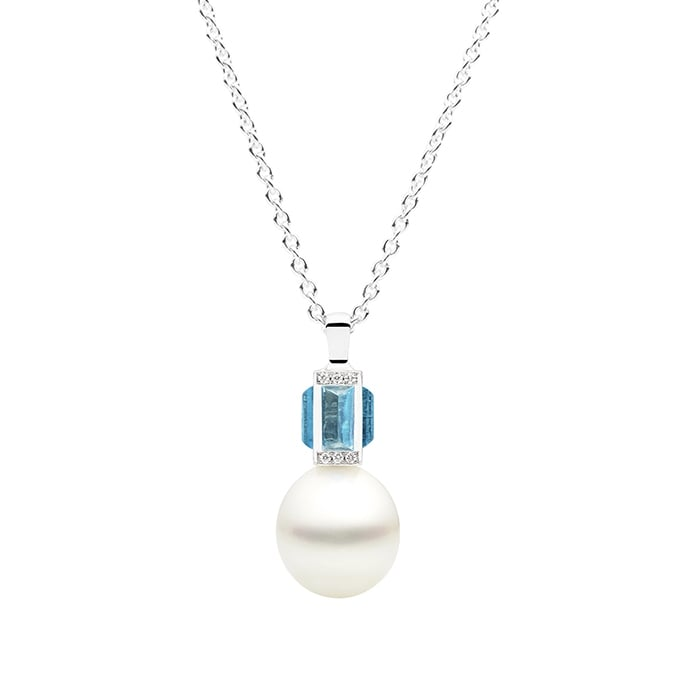 Kailis Sugarloaf By Day Pendant, Blue Topaz, 18ct White Gold