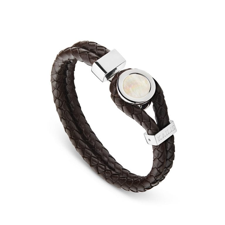 Mother of Pearl Bracelet, Brown Leather