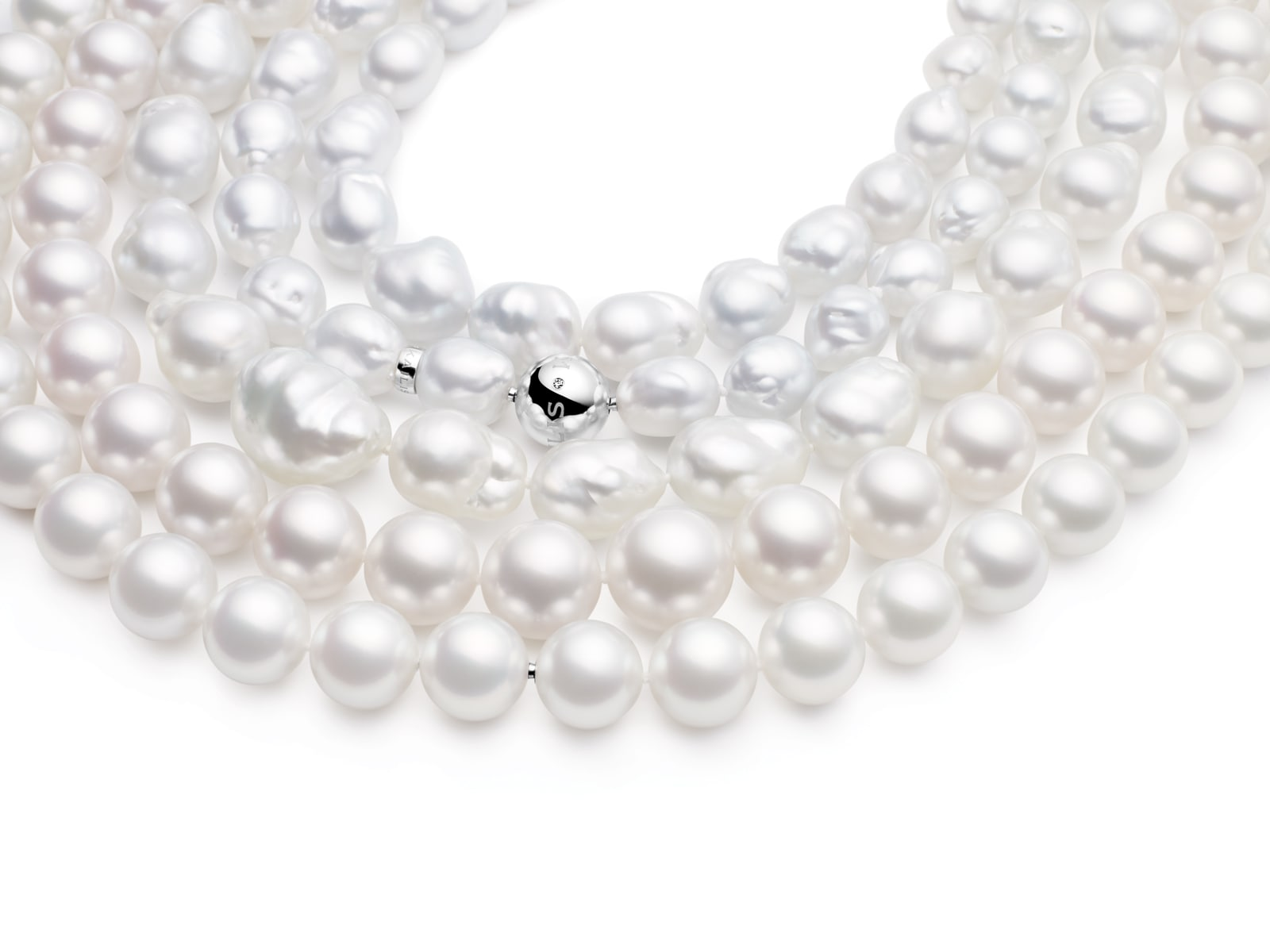 Round Pearl Studs, White Gold