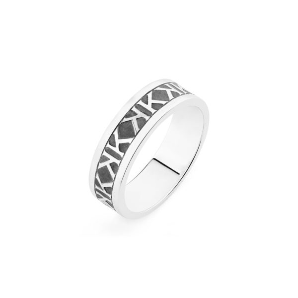 Tidal Emboss Ring, Sterling Silver