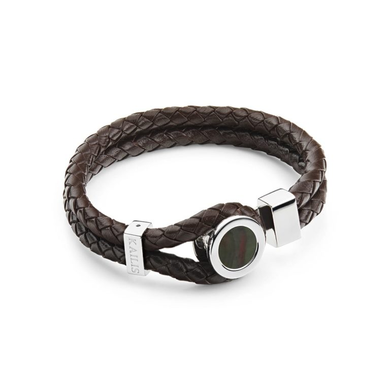 Conquest Bracelet, Brown Leather, Tahitian Mother of Pearl